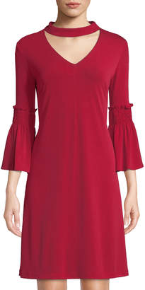 Gabby Skye Bell-Sleeve Choker-Neck A-line Dress
