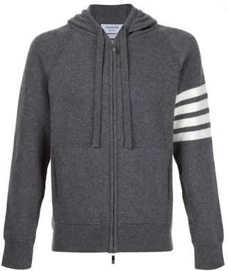 Thom Browne Full Zip Hoodie With 4-Bar Stripe In Medium Grey Cashmere