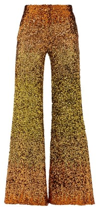 Halpern Ombre Sequinned Wide Leg Trousers - Womens - Gold Multi