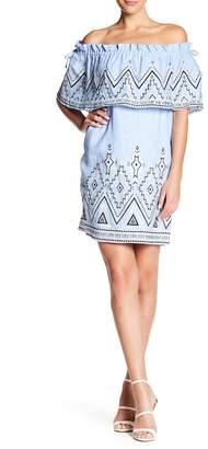 Parker Susie Off-the-Shoulder Embroidered Linen Dress
