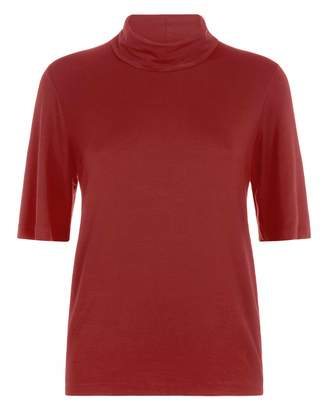 Jaeger Drapey Polo Top With Wide Sleeve