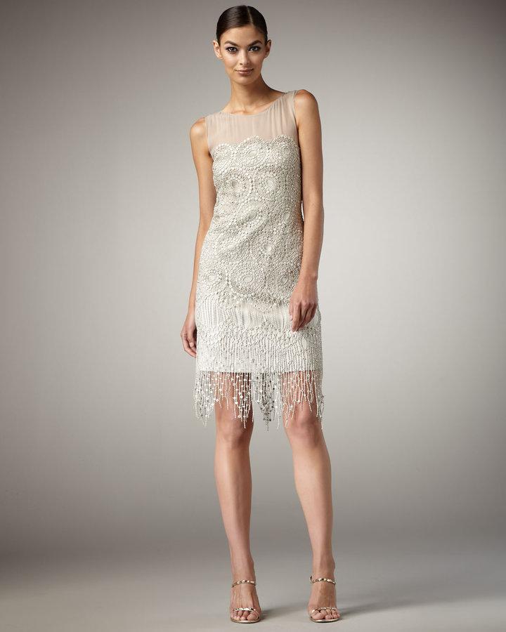 Kay Unger New York Illusion Top Fringe Cocktail Dress