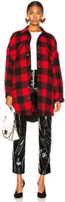 Monse Oversized Shirt Coat in Red & Black   FWRD