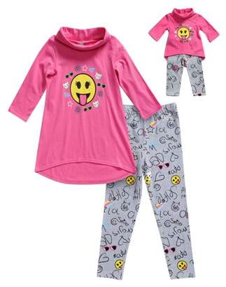Dollie & Me Emoji Long Sleeve Tunic And Legging, 2-Piece Outfit Set With Matching Doll Outfit (Little Girls And Big Girls)