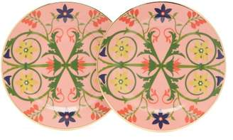 La DoubleJ Stella Alpina Floral Two Piece Dessert Plate Set - Womens - Pink Multi