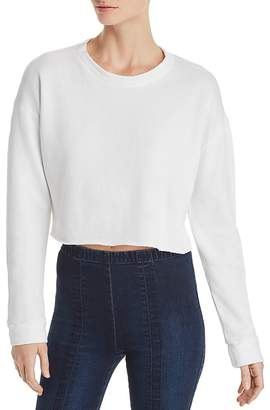 Monrow Net-Back Cropped Sweatshirt