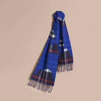 Burberry Reversible Weather Pattern Check Cashmere Mini Scarf , Size: OS, Blue