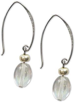 Jody Coyote Iridescent Oval Glass Bead Drop Earrings in Sterling Silver & Silver-Plate