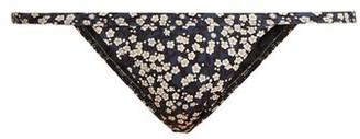 Matteau - The Petite Blossom Print Bikini Briefs - Womens - Black Navy