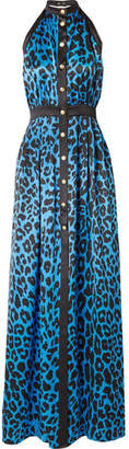 Balmain Leopard-print Silk-satin Halterneck Gown - Azure
