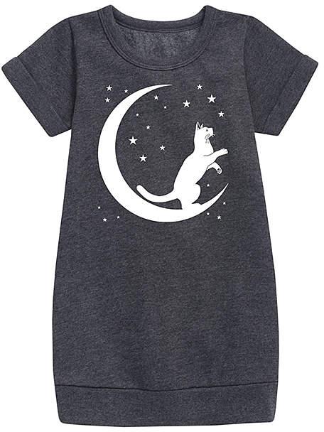 Heather Charcoal Crescent Lunar Cat Sweatshirt Dress - Toddler & Girls