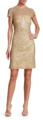Joanna Mastroianni Sequin Illusion Cocktail Dress