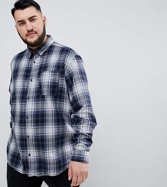 Jack and Jones Originals Plus Size brushed check shirt in slim fit