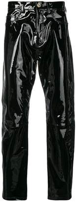 Versace embellished leather trousers