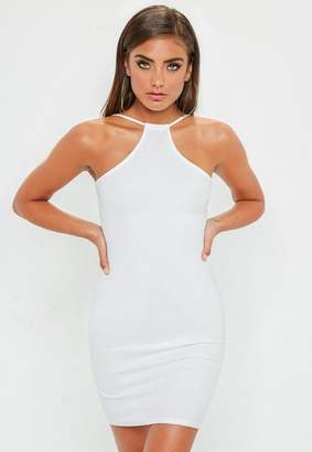 Missguided White Racer Neck Bodycon Dress