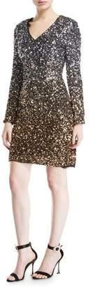 Aidan Mattox Ombre Sequin Long Sleeve V-Neck Dress