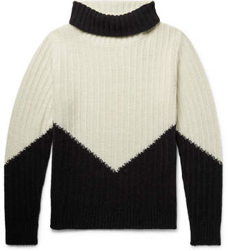 Piombo MP Massimo Colour-Block Ribbed Wool Mock-Neck Sweater