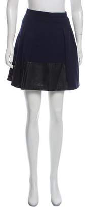 Vince Wool Leather Trim Mini Skirt