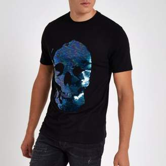 River Island Black skull sequin slim fit T-shirt