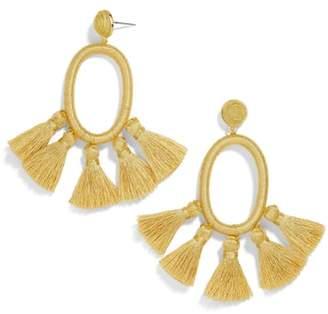 BaubleBar Tassel Oval Hoop Earrings
