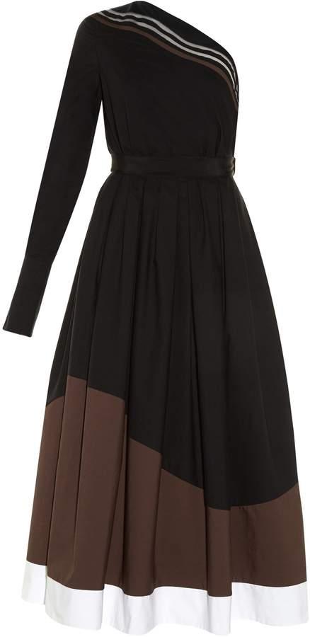 FENDI Wave one-shoulder cotton midi dress