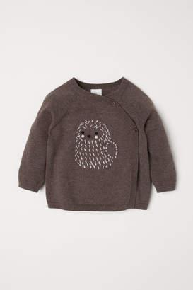 H&M Jacquard-knit Wrap Cardigan - Beige