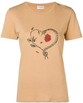 Saint Laurent snake heart print T-shirt