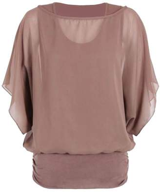 Roland Mouret Fashions Womens Plus Size 2 In 1 Chiffon Blouse Batwing T Shirt Top