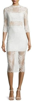 Alexis Miller 3/4-Sleeve Lace Midi Dress, Ivory $583 thestylecure.com