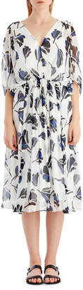 Jason Wu Grey Floral Chiffon V-Neck Dress