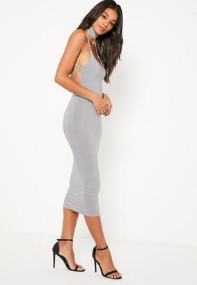 Grey Slinky Choker Detail Strappy Back Midi Dress $55 thestylecure.com