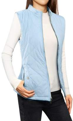 Unique Bargains Women's Zip Up Quilted Padded Vest