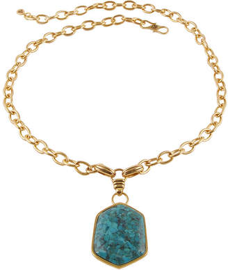 Artsmith BY BARSE Art Smith by BARSE Genuine Turquoise Brass Pendant Necklace