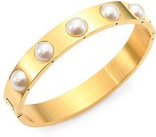 Majorica 7MM White Pearl Bangle Bracelet/Goldtone