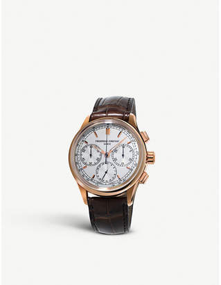 Frederique Constant FC-760V4H4 Flyback rose gold-plated and alligator strap chronograph watch