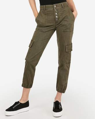Express High Waisted Button Fly Utility Ankle Jogger Pant