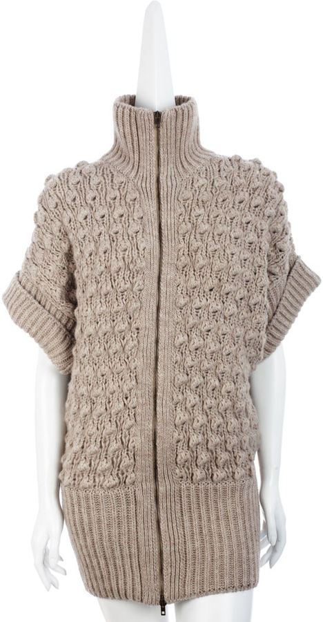 Stella McCartney Organic Zip-Up Cocoon Sweater - Cream Melange