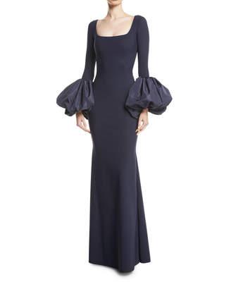 Chiara Boni Ary Gown w/ Taffeta Balloon Sleeves