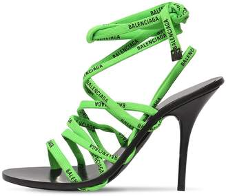 Balenciaga 110mm Lace Logo Wrap Around Sandals