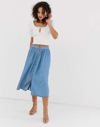 Vero Moda button front midi skirt