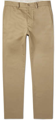 Maison Margiela Slim-fit Vinyl-trimmed Cotton-twill Trousers