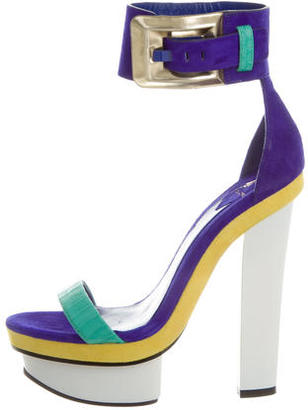 B Brian Atwood Suede Platform Sandals $175 thestylecure.com