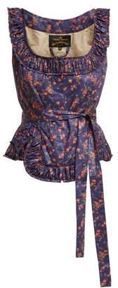 Vivienne Westwood Revolution Floral Print Cotton Bustier Top - Womens - Blue Multi