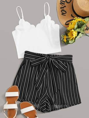 Shein Scallop Trim Cami Top & Striped Belted Shorts Set