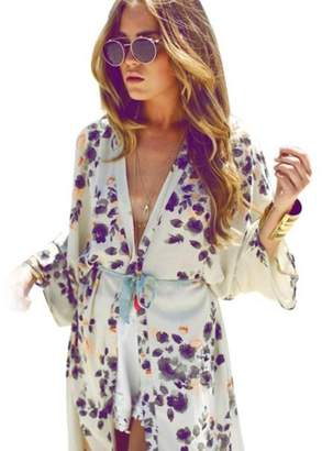 Cardigan, Hatop Summer Women Flower Floral Print Chiffon Kimono Cardigan Jacket Outwear Blouse (S)