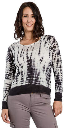 MISS HALLADAY Women's Hacci Knit Scoop Neck Tie Dye Pullover Sweater Side Slits