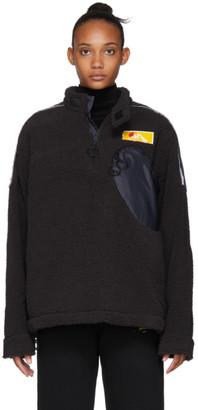 Off-White Off White Black Eco Fur Moto Half-Zip Pullover