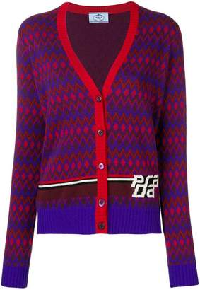 Prada graphic intarsia knit cardigan