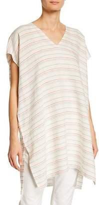 Eileen Fisher Plus Size Striped Organic Linen Caftan