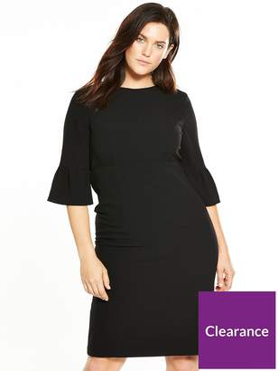 V By Very Curve Fluted Sleeve Pencil Dress